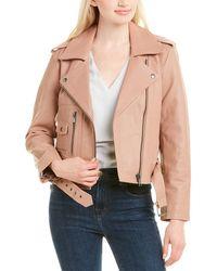 Joie Ondra Leather Jacket - Pink