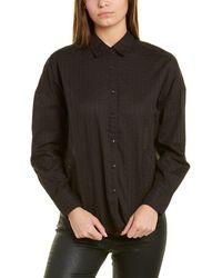 Rag & Bone Textured Stripe Tie Front Cotton Button-up Shirt - Black