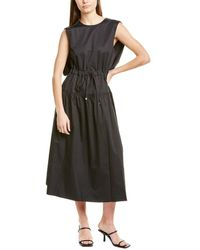 Tibi Eco Poplin Cape Midi Dress - Black