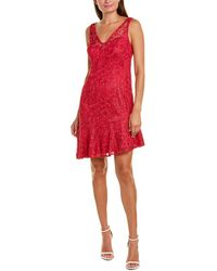 Adrianna Papell Guipure Midi Dress - Red