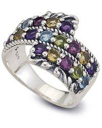 Samuel B. Silver Gemstone Bypass Ring - Metallic