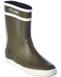 Celine Logo Rubber Rain Boot - Green
