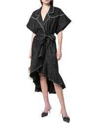 Johanna Ortiz Cap-sleeve V-neck Dress - Black