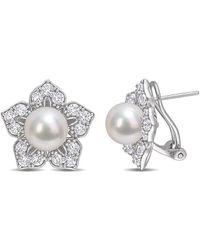 Rina Limor Silver 2.70 Ct. Tw. White Sapphire 8.5-9mm Pearl Earrings - Multicolour