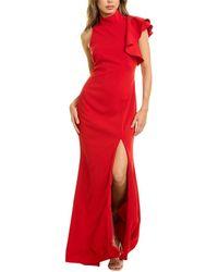 Badgley Mischka Ruffle Shoulder Gown - Red