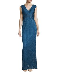Adrianna Papell Sleeveless V-neck Gown - Blue
