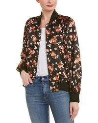 A.L.C. Floral-print Stretch-silk Bomber Jacket Black