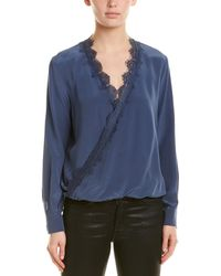 Lavender Brown Lace Twist Silk Top - Blue