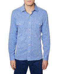 Hickey Freeman Straight Collar Linen-blend Woven Shirt - Blue