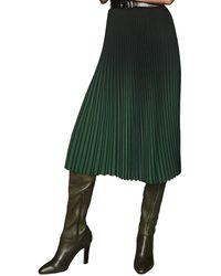Reiss Marlie Contrast Pleat Skirt - Green