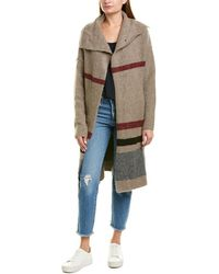 James Perse Belted Stripe Wool & Linen-blend Coat - Brown