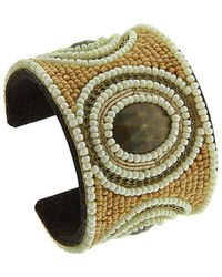 Gottex - Genuine Leather & Bead Cuff - Lyst