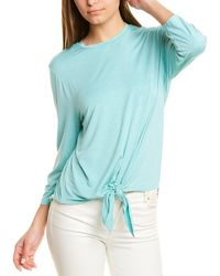 Three Dots Tie-front Top - Blue