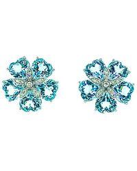 Arthur Marder Fine Jewelry 14k 0.40 Ct. Tw. Diamond & Blue Topaz Floral Studs