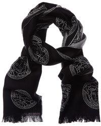 Versace Medusa Print Wool Scarf - Black