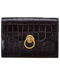 Mulberry Croc-embossed Leather Continental Wallet - Black