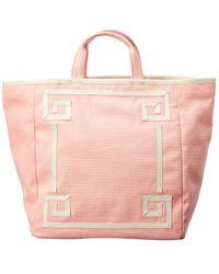 PAMELA MUNSON Greek Key Canvas Tote - Pink