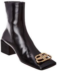 Balenciaga Double Square Bb Leather Bootie - Black