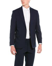 Kenneth Cole 2pc Wool-blend Suit With Flat Pant - Blue