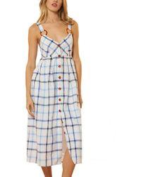 Red Carter Sleeveless V Neck Linen-blend Midi Dress - Blue