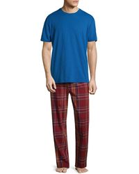 Original Penguin Plaid Tonal Pyjama Set - Blue