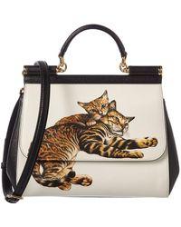Dolce & Gabbana - Medium Sicily Cat Leather Satchel - Lyst