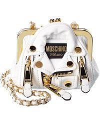 Moschino Biker Jacket Mini Leather Crossbody - White