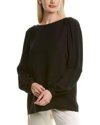 Lafayette 148 New York Albright Silk Blouse - Black