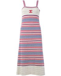 Chanel Cruise 2019 Collection Cc Striped Dress, Size Eu 34 - Red