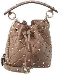 Valentino Rockstud Spike Mini Leather Bucket Bag - Brown