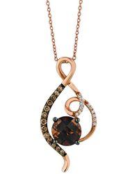 Le Vian ? 14k Rose Gold 1.90 Ct. Tw. Diamond & Chocolate Quartz? Pendant Necklace - Metallic