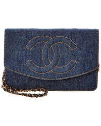 Chanel Blue Denim Wallet On Chain