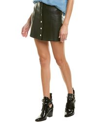 Rag & Bone Rosie Lambskin Leather Skirt - Black