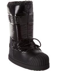 Moncler Venus Leather-trim Moon Boot - Black