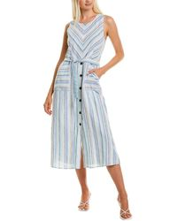 Vince Camuto Wistful Stripe Linen-blend Midi Dress - Blue