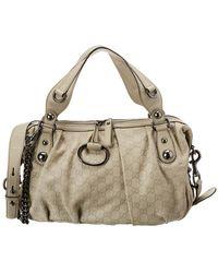 Gucci - White Ssima Leather Icon Bit Boston Bag - Lyst