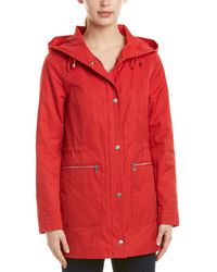 Cole Haan Hooded Rain Coat - Red