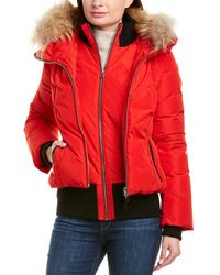 Mackage Romane Leather-trim Down Coat - Red