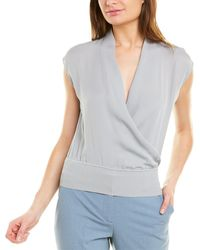 Theory Draped Silk Combo Top - Blue