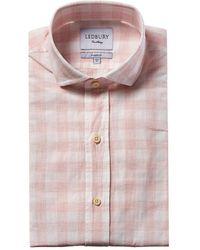 Ledbury Goodman Linen-blend Classic Fit Dress Shirt - Pink