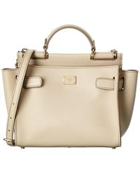 Dolce & Gabbana Sicily 62 Small Leather Satchel - Natural