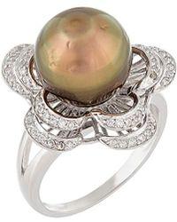 Splendid - Silver 9-10mm Tahitian Pearl & Cz Ring - Lyst
