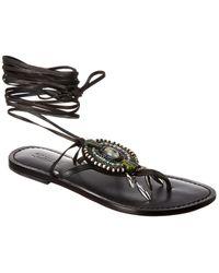 Schutz Centi Leather Sandal - Black