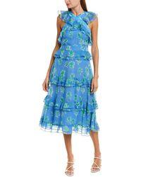 Prabal Gurung Pearson Silk Midi Dress - Blue
