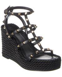 Valentino Rockstud Caged Leather Wedge Sandal - Black
