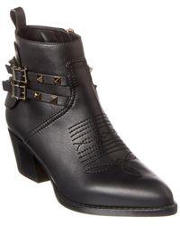 Valentino Valentino Garavani Rockstud Cowboy Split Leather Bootie - Black