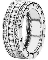 PANDORA Silver Cz Ring - Metallic