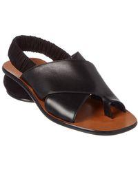 Celine Céline Pebble Criss Cross Toe Ring Leather Sandal - Black