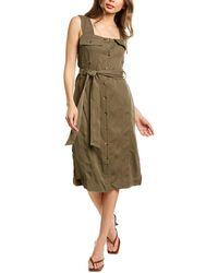 DL1961 Premium Denim Ophelie Linen-blend Midi Dress - Green