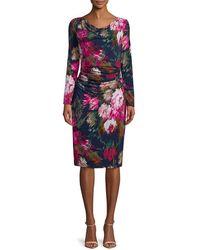 David Meister Floral-print Long-sleeve Dress - Multicolour